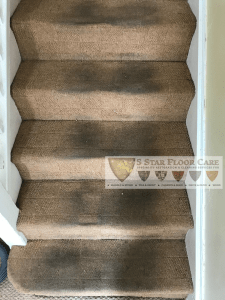 carpet cleaning on filthy stairs